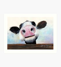 NOSEY COW 'HEY! HOW'S IT GOIN'?' BY SHIRLEY MACARTHUR Art Print