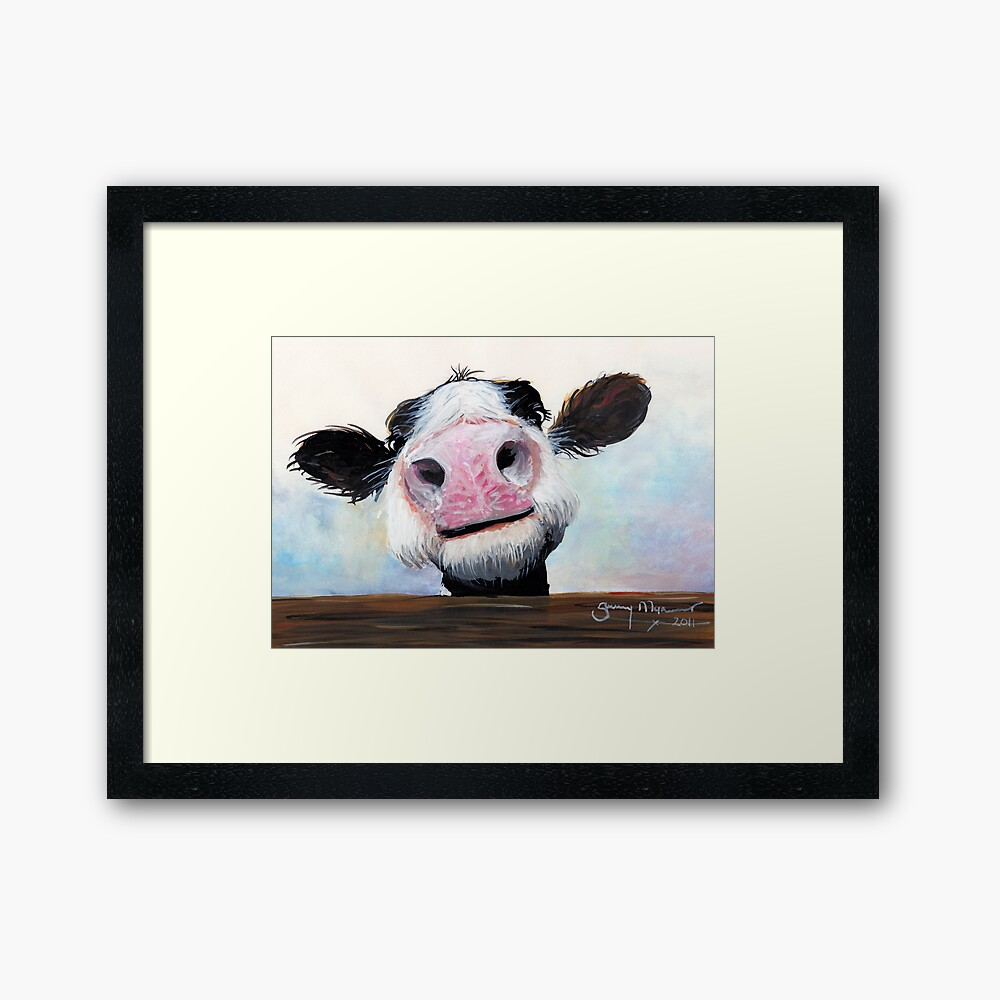 NOSEY COW 'HEY! HOW'S IT GOIN'?' BY SHIRLEY MACARTHUR Framed Art Print