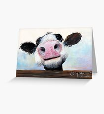 NOSEY COW 'HEY! HOW'S IT GOIN'?' BY SHIRLEY MACARTHUR Greeting Card