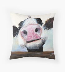 NOSEY COW 'HEY! HOW'S IT GOIN'?' BY SHIRLEY MACARTHUR Throw Pillow