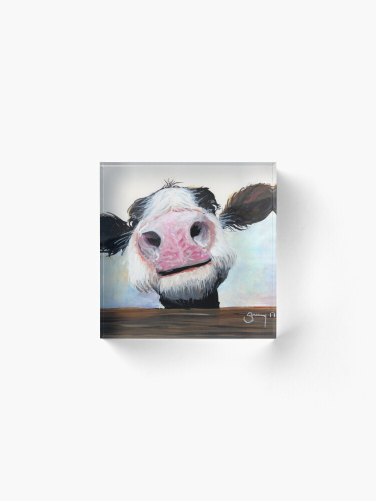 Alternate view of NOSEY COW 'HEY! HOW'S IT GOIN'?' BY SHIRLEY MACARTHUR Acrylic Block