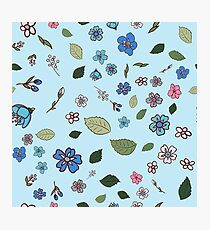 pattern with multicolored wildflowers Photographic Print