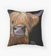SCOTTISH HAIRY HIGHLAND COW 'HENRY' By Shirley MacArthur Throw Pillow