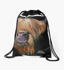 SCOTTISH HAIRY HIGHLAND COW 'HENRY' By Shirley MacArthur Drawstring Bag