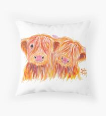 HIGHLAND COWS 'BUDDIES' By Shirley MacArthur Throw Pillow