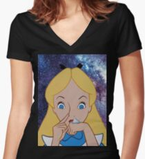 Alice in Wonderland doing a Bump Women's Fitted V-Neck T-Shirt
