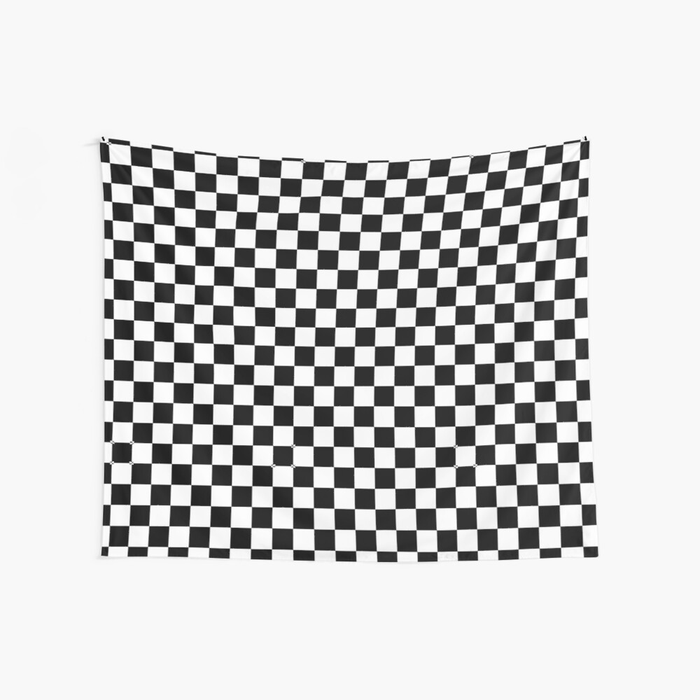 Checkered Flag, Chequered Flag, Motor Sport, Checkerboard, Pattern, WIN, WINNER,  Racing Cars, Race, Finish line, BLACK. Wall Tapestry