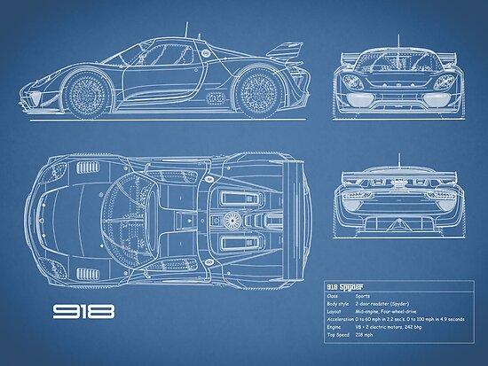 The 918 Spyder Blueprint Poster By Rogue Design