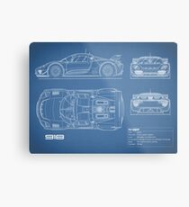 The 918 Spyder Blueprint Metal Print