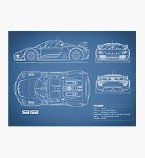 Car blueprint wall art redbubble the 918 spyder blueprint photographic print malvernweather Gallery
