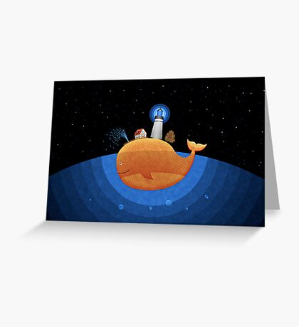 Whale (Night) Greeting Card