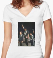 1968 Olympics Salute for Human Rights Women's Fitted V-Neck T-Shirt