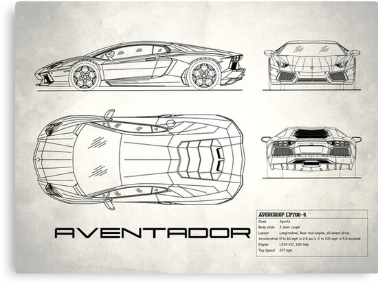 Aventador blueprint canvas prints by rogue design redbubble aventador blueprint by rogue design malvernweather Gallery