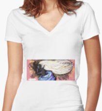 Ebony Fantasy Concept Women's Fitted V-Neck T-Shirt