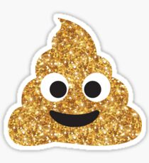 Funny Hilarious Glitter Gold Poop Emoji Texting Vibes  Sticker