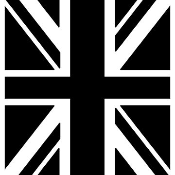 BRITISH, UNION JACK, FLAG, UK, GB, UNITED KINGDOM, PORTRAIT, IN BLACK by TOMSREDBUBBLE