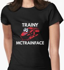Trainy McTrainface Shirt - Funny Meme Swedish Train Shirts Womens Fitted T-Shirt