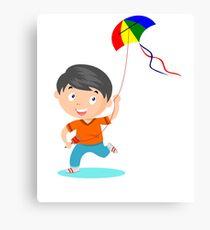 Happy Kite Kid Canvas Print