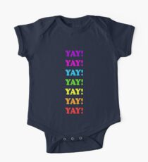YAY!!! colorful design, rainbow, celebrate, party Kids Clothes