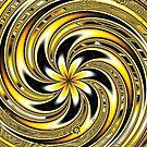 Spiraling Yellow and Black Flowers by Beatriz  Cruz