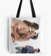 Cockold watching loving couple while eating chips Tote Bag
