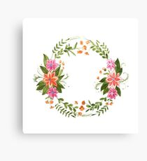 Aquarelle painting of floral wreath made of wild flowers Canvas Print