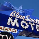 Route 66 - Blue Swallow Motel Neon by Frank Romeo