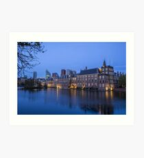 Hague Netherlands Night Skyline  Art Print