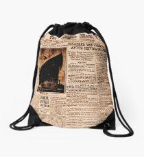 Titanic Vintage Sepia Newspaper Poster  Drawstring Bag
