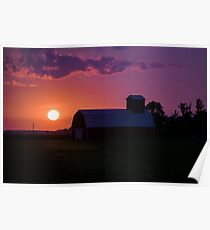 Barn at Sunset Poster