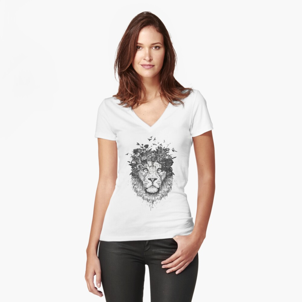Floral lion (b&w) Fitted V-Neck T-Shirt
