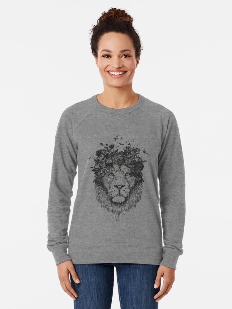 Alternate view of Floral lion (b&w) Lightweight Sweatshirt