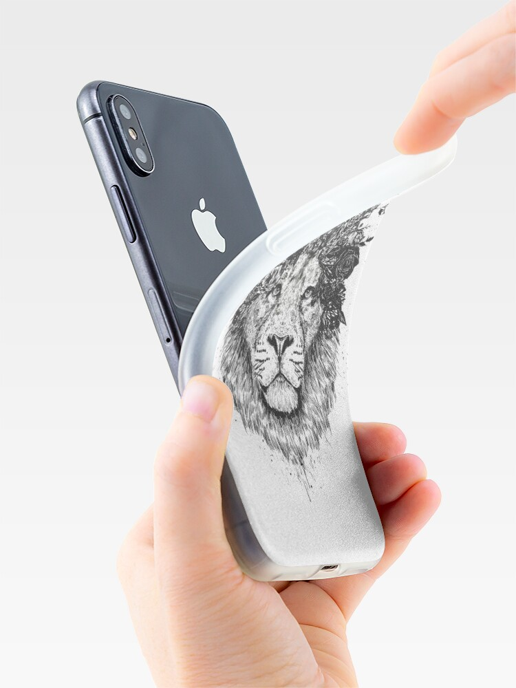 Alternate view of Floral lion (b&w) iPhone Case & Cover