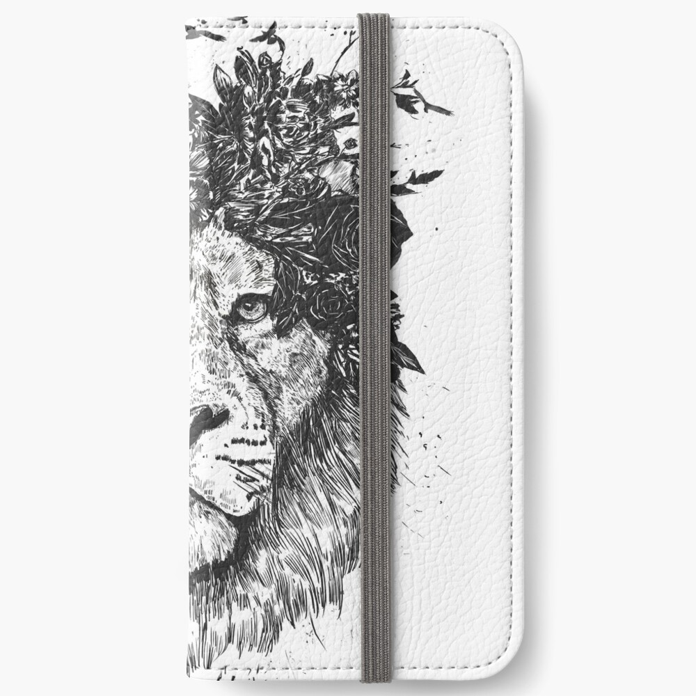 Floral lion (b&w) iPhone Wallet