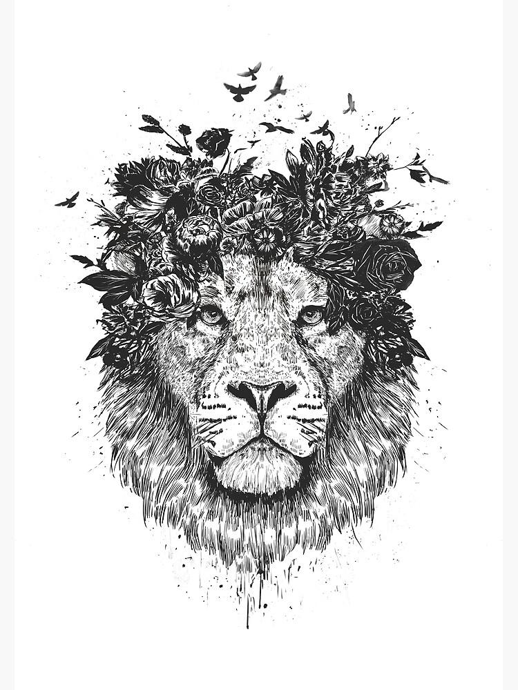 Floral lion (b&w) by soltib