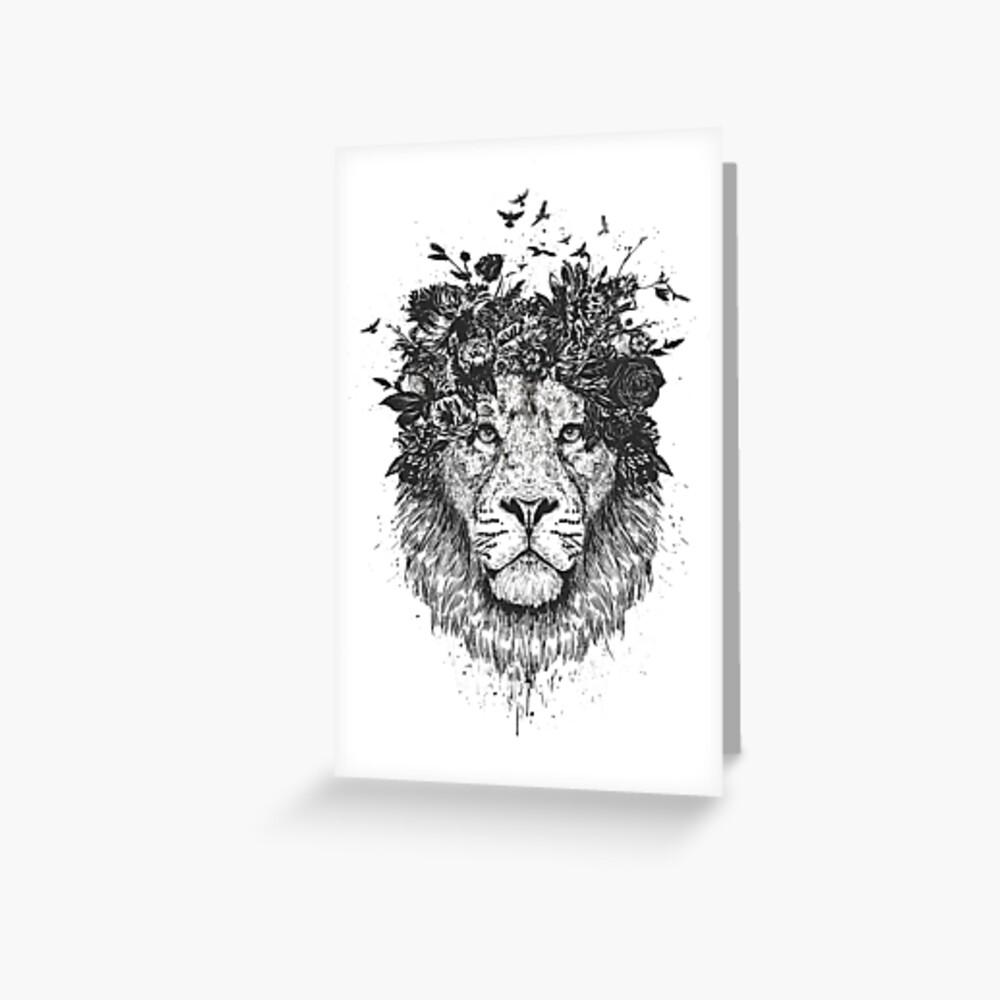 Floral lion (b&w) Greeting Card