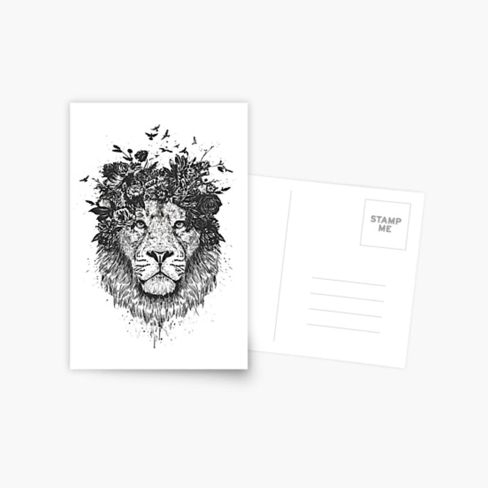 Floral lion (b&w) Postcard