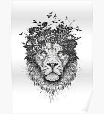 Floral lion (b&w) Poster