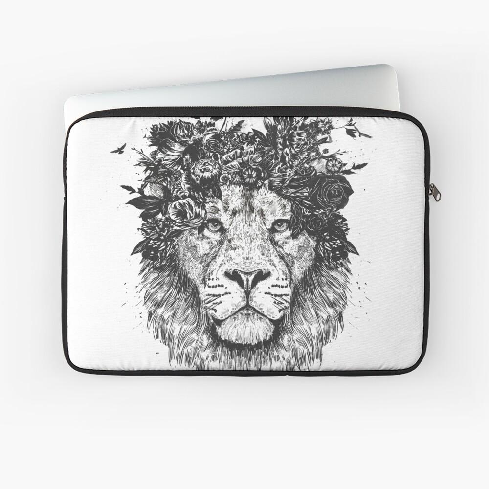Floral lion (b&w) Laptop Sleeve