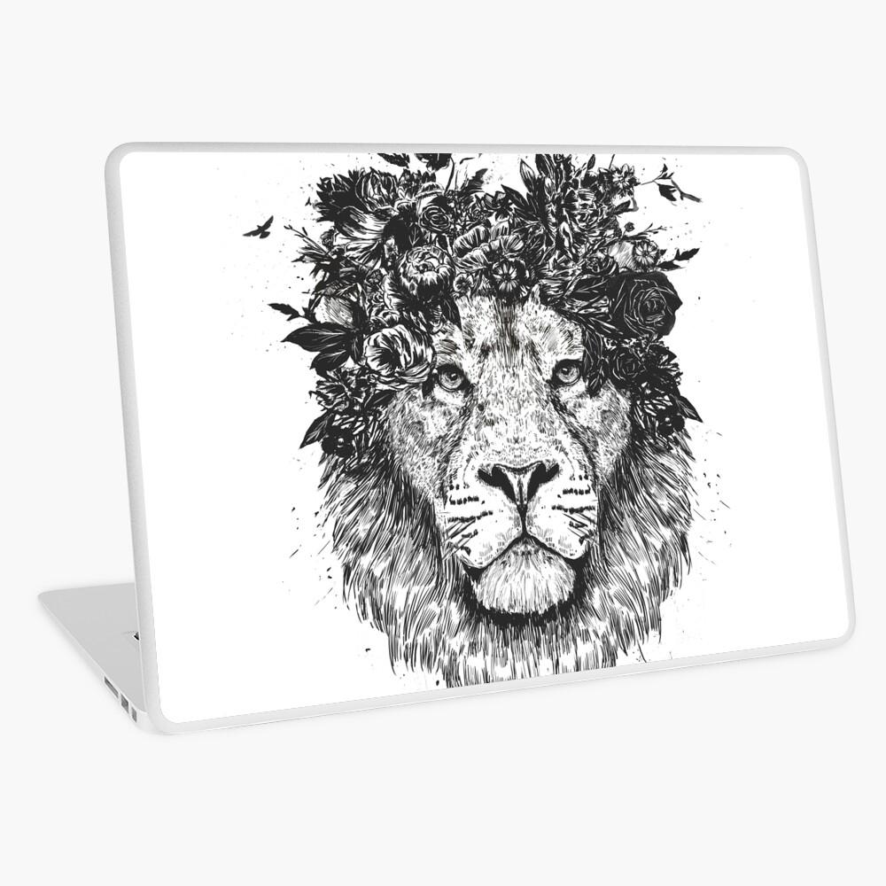 Floral lion (b&w) Laptop Skin