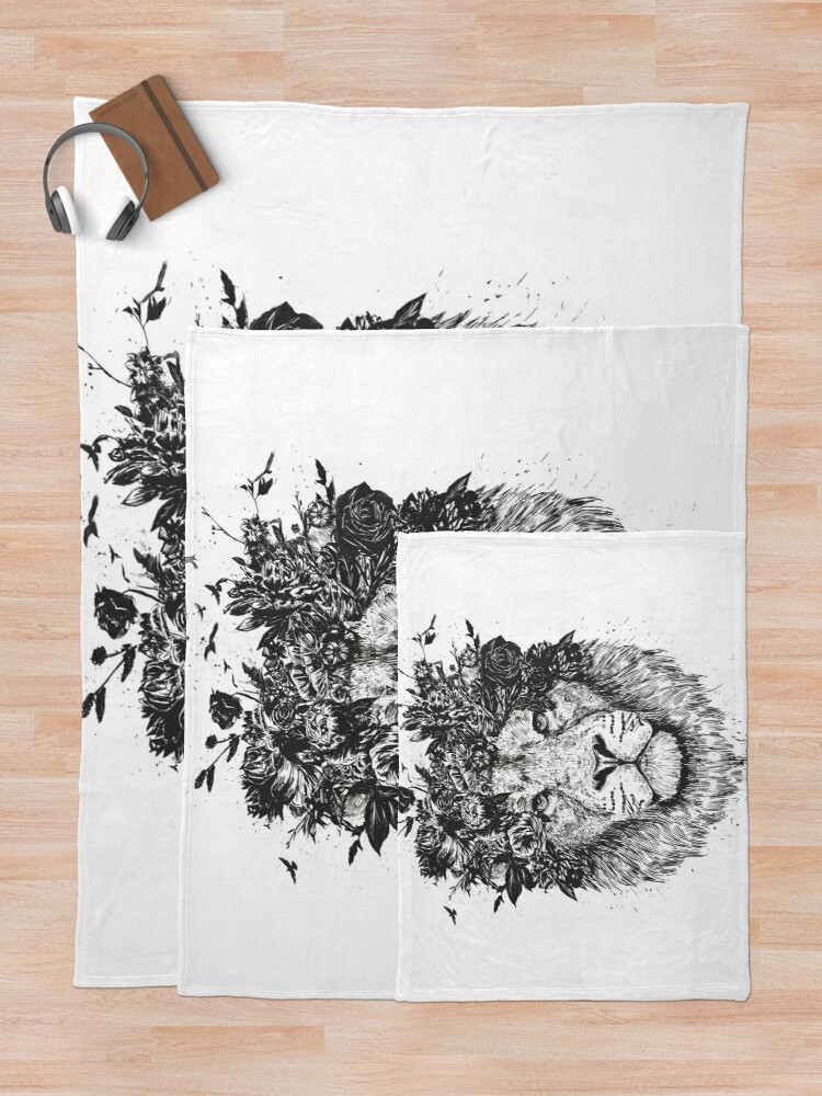 Alternate view of Floral lion (b&w) Throw Blanket