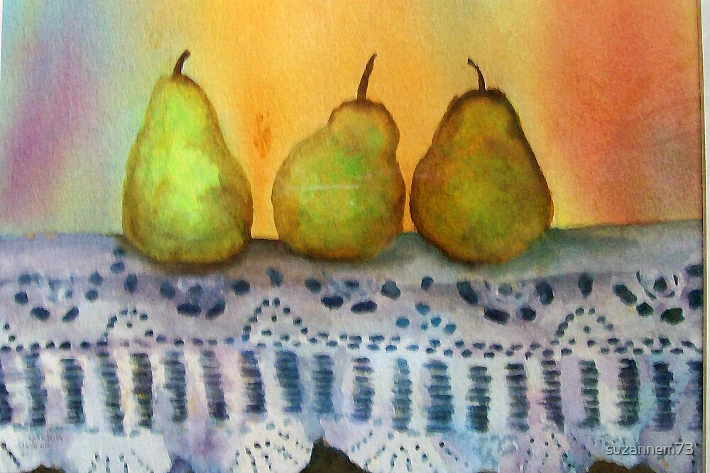 Pears on Old Lace by suzannem73