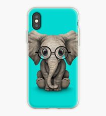 Cute Baby Elephant Calf with Reading Glasses on Blue iPhone Case