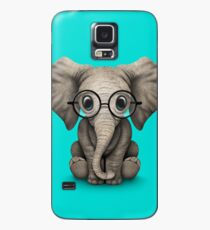Cute Baby Elephant Calf with Reading Glasses on Blue Case/Skin for Samsung Galaxy