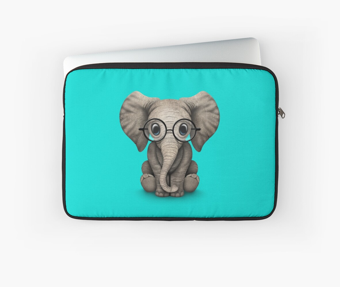Cute Baby Elephant Calf with Reading Glasses on Blue by jeff bartels