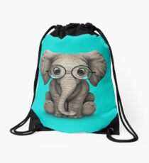 Cute Baby Elephant Calf with Reading Glasses on Blue Drawstring Bag