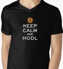Keep Calm and HODL Bitcoin Men's V-Neck T-Shirt