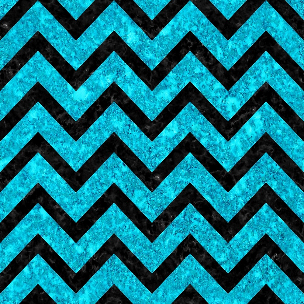 CHEVRON9 BLACK MARBLE AND TURQUOISE MARBLE (R) by johnhunternance