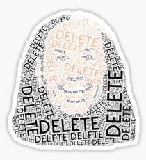 Delete Broken Hardy Word Cloud Sticker