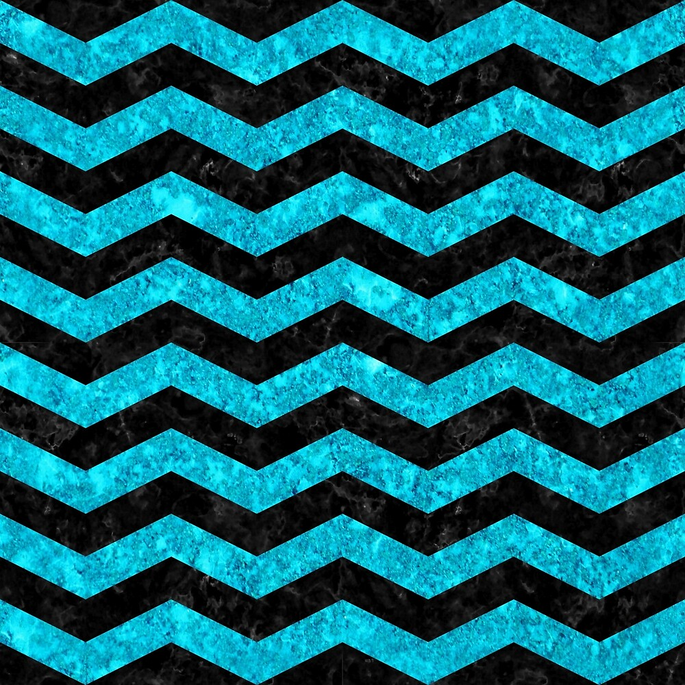 CHEVRON3 BLACK MARBLE AND TURQUOISE MARBLE by johnhunternance